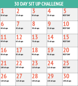 The 30-Day Situp Challenge: Because losing 113 lbs. to get to my goal weight isn't enough of a challenge!