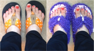 I love the orange polka dot (of course!), but the shag slipper flips are very comfy.