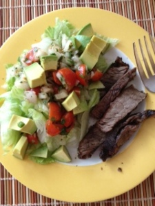 Mexican Avocado Salad with Steak. Tasty and pretty.