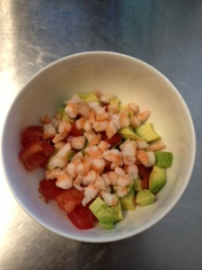 A simple, easy, light salad for a sunny day.  Took less than 10 minutes to put together - and 9 were for defrosting shrimp!