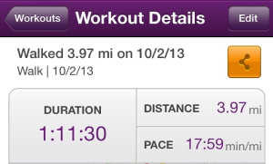 I ended up walking nearly 4 miles today. I'm ready for the 5K on Saturday.