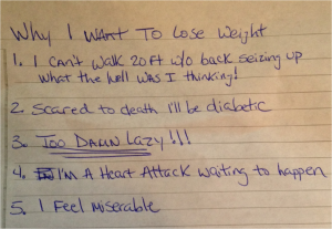 My reasons for weight loss in 2012 were driven by fear and anger. Clearly I wasn't in a happy place.