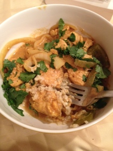 Delicious and filling. It didn't take much for this low carb/low point chicken curry dish to fill me up.