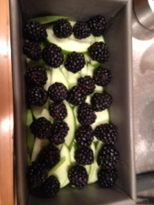 This dish starts with layering sliced apples and blackberries. I used Granny Smith apples, the best baking apples.