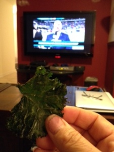 Kale chips satisfy the salty and crunchy cravings for potato chips. I enjoyed a batch as I watched the Seahawks pummeled the Broncos.