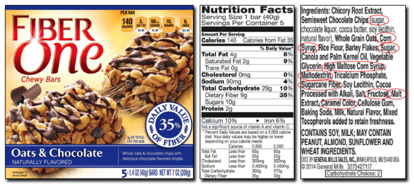 It's just an image of Adaptable Fiber One Bar Ingredient Label