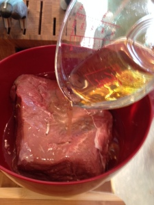 The roast will sit in a water and apple cider vinegar marinade for 24 hours.