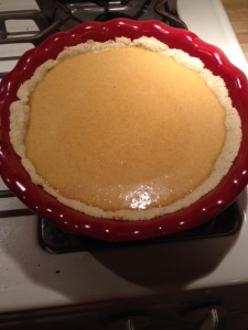 My pie pan was too large for the recipe so I didn't have enough crust to take to the top of the pan. I won't make the same boo-boo on Thanksgiving.