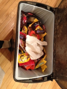 A successful night. I didn't eat any candy and all leftovers ended up in the trash (not in my belly). An awesome night.