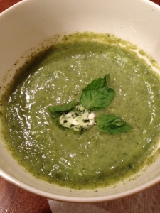 A big improvement over the cream of broccoli soup recipe I posted a few weeks ago. The basil butter make this recipe a delicious winner.