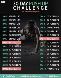 If I want to do a Spartan Sprint I need to work on my upper body strength to get through the race's tough obstacles. So I'm starting the 30 Day Push Up Challenge this morning.