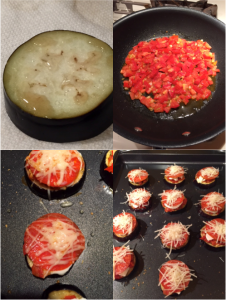 Clockwise from top left: A sweating eggplant piece, fresh tomato sauce, pizza toppings assembled, and the finished product -- Eggplant pizza!